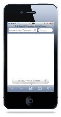 """iPhone """"Add to Home Screen"""" Callout & Home Screen Icon For Your website."""