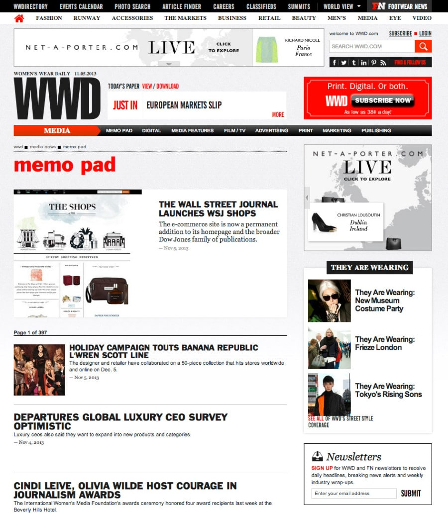 The Shops at WSJ Launch + WWD Memo Pad