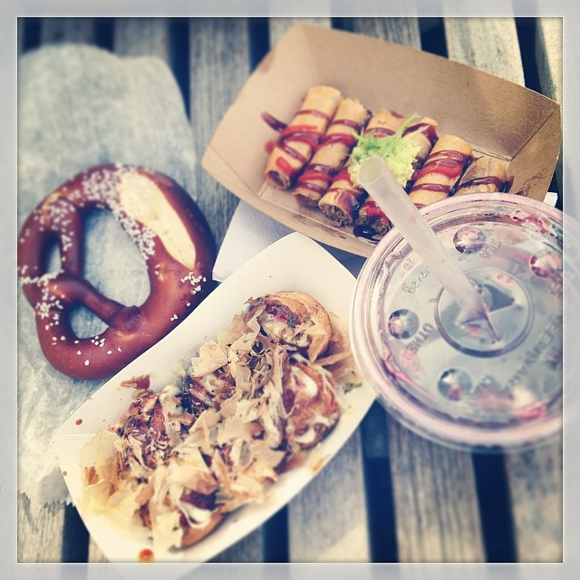 Octopus teriyaki balls + Peking duck rolls + pretzel + hibiscus lemon soda