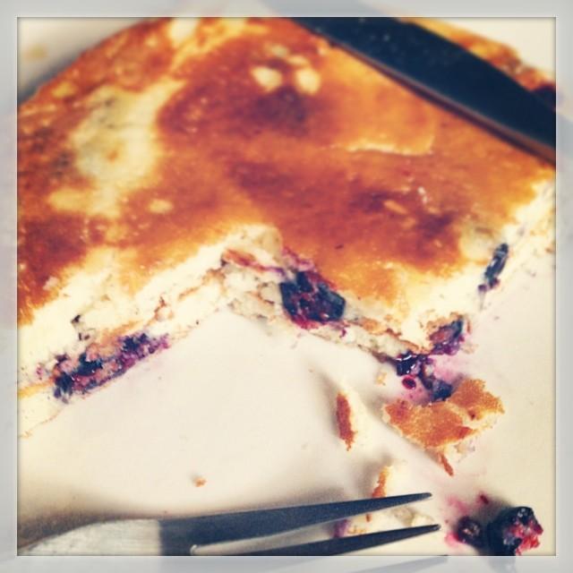 Homemade blueberry pancake morning