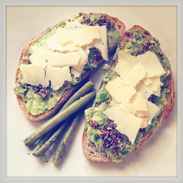 Snack Time = Avocado toast, quinoa, cheese + pickled strignbeans