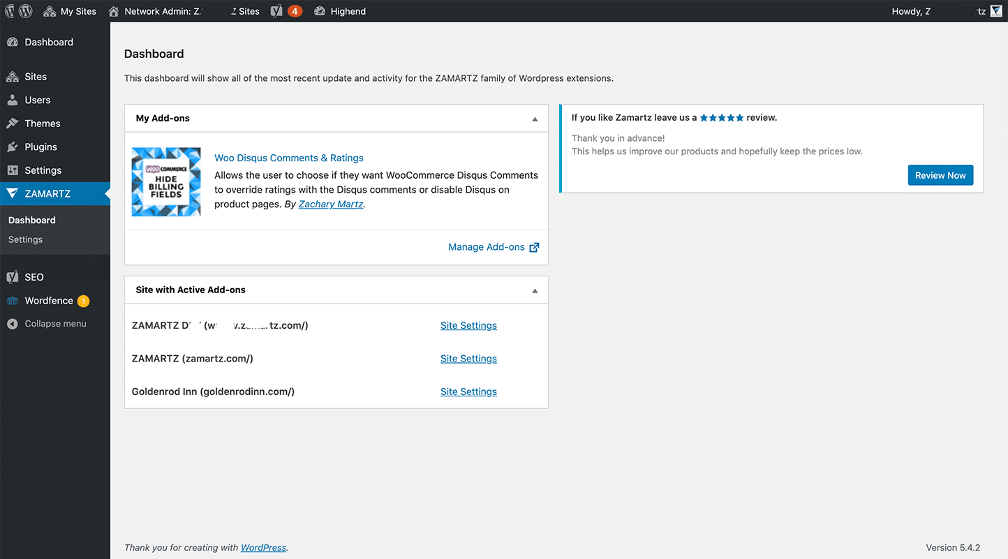 discus for wooCommerce network admin