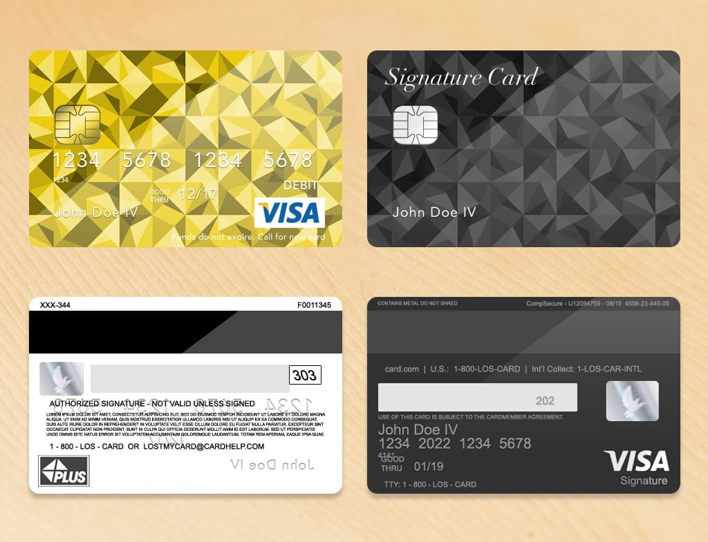 Bank Card Credit Card Layout PLUS With ENV Chip PSD Template - Visa credit card template
