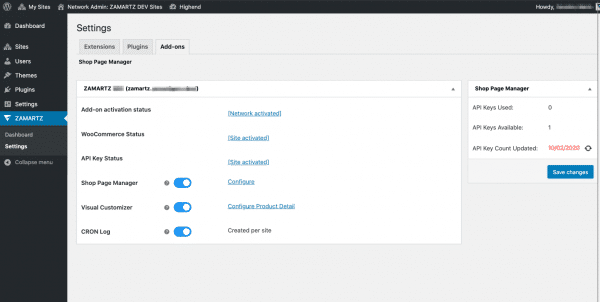 Advanced shop page manager multi site settings